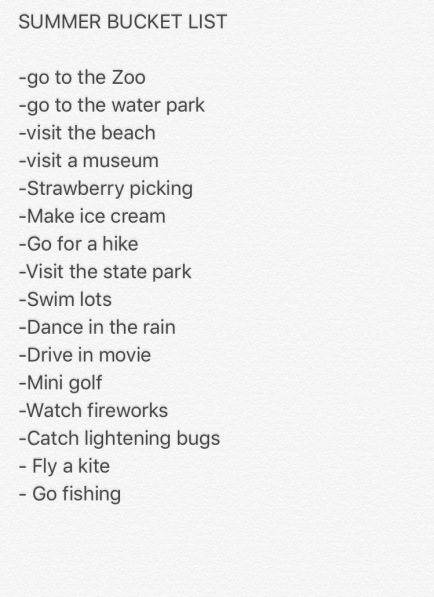 bucket list summer