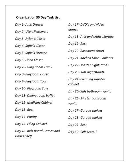 Organization 30 Day Task List 2